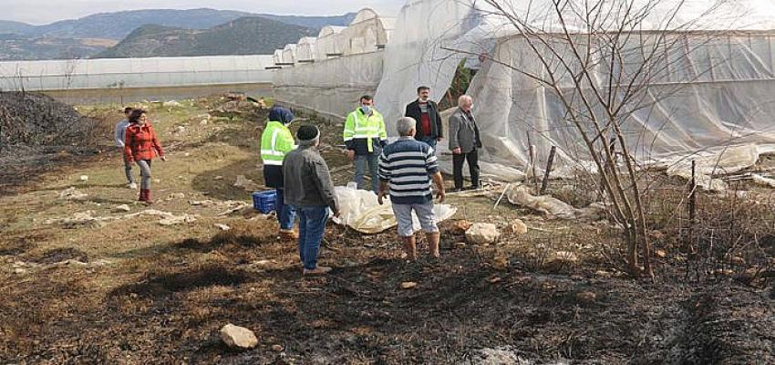 Büyükşehir'den Kaş'taki yangında serası zarar gören üreticiye destek