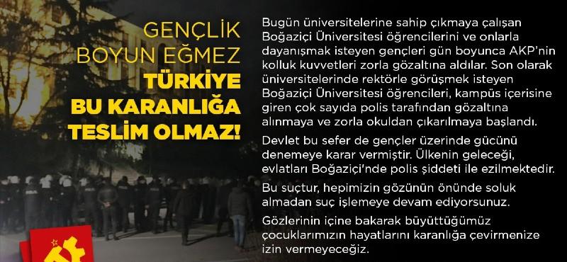 Gençlik boyun eğmez, Türkiye bu karanlığa teslim olmaz!